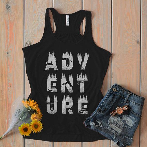 Women's Adventure Flowy Tank Typography Camping Explore Tanks Double Exposure Racerback-Shirts By Sarah