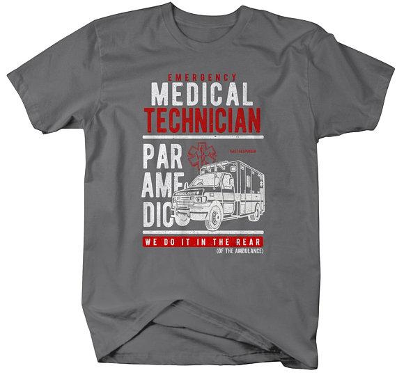 Men's Funny Paramedic T-Shirt EMT Shirts Do It In Rear Tee Ambulance Shirt-Shirts By Sarah
