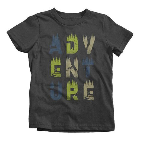 Kids Adventure T-Shirt Typography Camping Shirt Explore Tee Double Exposure Baby Infant Toddler-Shirts By Sarah