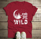 Men's Forest Hipster T-Shirt Moon Shirt Birds Trees Stars Find Your Way Wild Wanderlust Graphic Tee-Shirts By Sarah