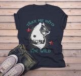 Men's Take Me Into Wild T shirt Bear Wolf Graphic Tee Hipster Camping Shirts-Shirts By Sarah