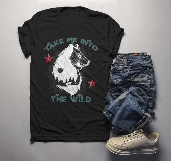 279d66a3e Men's Take Me Into Wild T shirt Bear Wolf Graphic Tee Hipster Camping Shirts -Shirts