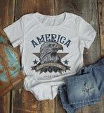 Women's America T Shirt Eagle Shirts One Nation Under God Graphic Tee Vintage 4th July TShirt-Shirts By Sarah