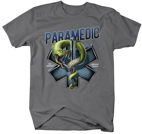 Men's Paramedic T-Shirt Star Life Snake Tee Gift Idea EMT Shirts-Shirts By Sarah