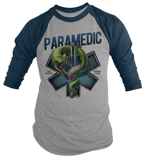 Men's Paramedic Raglan Star Life Snake Tee Gift Idea EMT Shirts 3/4 Sleeve-Shirts By Sarah