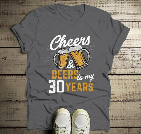 158d8f283 Men's Funny 30th Birthday T Shirt Cheers Beers Thirty Years TShirt Gift  Idea Graphic Tee Beer