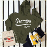 Men's Personalized Grandpa Established Year Hoodie Fathers Day New Baby Reveal Gift Idea Pullover Sweatshirt-Shirts By Sarah