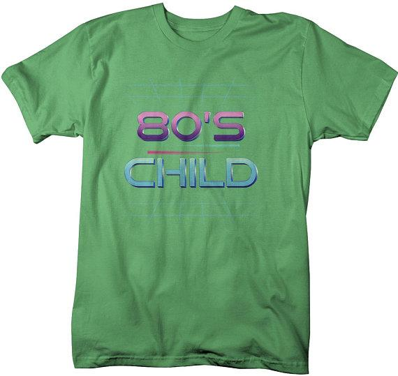Men's 80's Child T-Shirt Retro Shirt Born In Birthday Tee Vintage Rad Tubular Cool-Shirts By Sarah