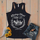 Women's Vintage Farm Flowy Tank Living That Life Farming Chicken Tanks Racerback Chickens-Shirts By Sarah