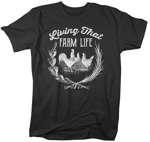 Men's Vintage Farm T-Shirt Living That Life Farming Chicken Shirt Chickens Tee-Shirts By Sarah