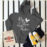 Men's Funny Vintage Chicken Hoodie Rise Shine Mother Cluckers Farming Pullover Sweatshirt-Shirts By Sarah