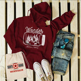 Men's Wander Hipster Hoodie Mason Jar Adventure Camping Mountains Camp Fire Pullover Sweatshirt-Shirts By Sarah