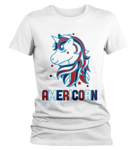40032bce2 Women's Patriotic Americorn T-Shirt America Unicorn Tee American 4th July  Hipster Shirt-Shirts