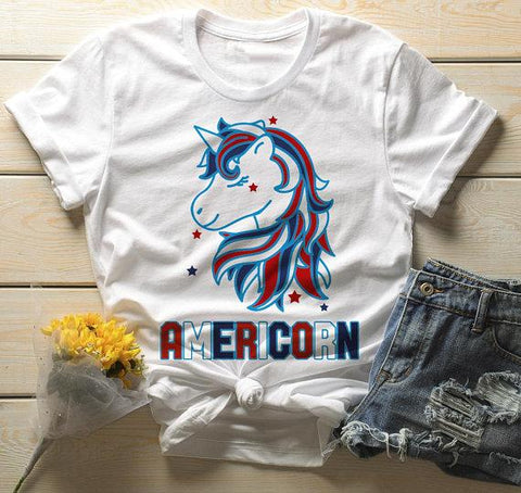 4337da262 Men's Patriotic Americorn T-Shirt America Unicorn Tee American 4th July  Hipster Shirt-Shirts