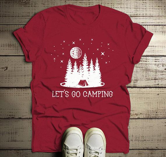 Men's Camping T Shirt Let's Go Camper Shirts Forest Tent Nature TShirt Graphic Tee-Shirts By Sarah