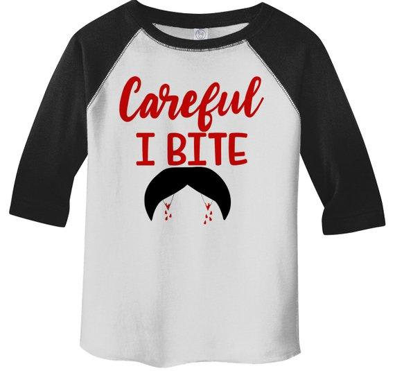 Boy's Funny Halloween T Shirt Careful I Bite Vampire Shirts 3/4 Sleeve Raglan Toddler Tee-Shirts By Sarah