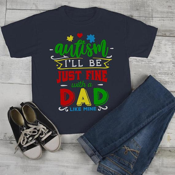 Kids Autism Shirt Be Fine Dad Like Mine Tshirt Cute Autism T Shirt Puzzle Heart-Shirts By Sarah