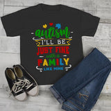 Kids Autism Shirt Be Fine Family Like Mine Tshirt Cute Autism T Shirt Puzzle Heart-Shirts By Sarah