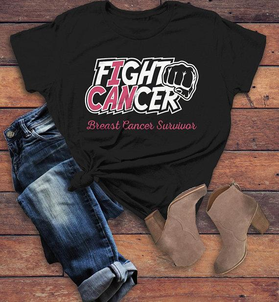 Women's Breast Cancer T Shirt Survivor Shirt I Can Fight Cancer Pink Ribbon Awareness Tee-Shirts By Sarah