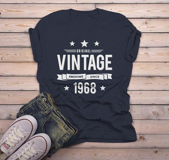 Men's 50th Birthday T Shirt Original Vintage Shirt Awesome Since 1968 Tshirt-Shirts By Sarah