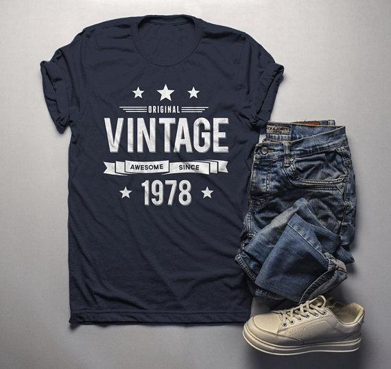 Men's 40th Birthday T Shirt Original Vintage Shirt Forty Awesome Since 1978 Tshirt-Shirts By Sarah
