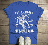 Men's Roller Derby T Shirt Hit Like Girl Shirt Derby Girls Skate Shirts Grunge Distressed Graphic Tee-Shirts By Sarah