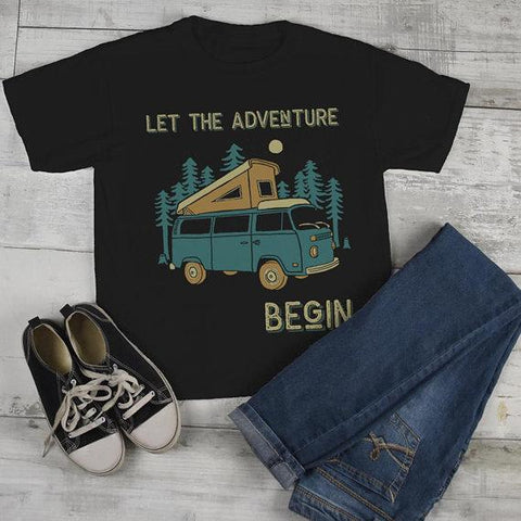 Kids Camping T Shirt Pop Up Van Retro Shirt Adventure Begin Tshirt Explore Nature Graphic Tee-Shirts By Sarah