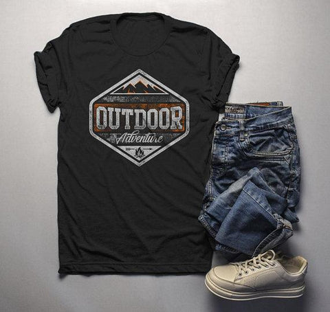 Men's Outdoor Adventure T Shirt Mountains Camping Shirt Grunge Distressed Shirts-Shirts By Sarah