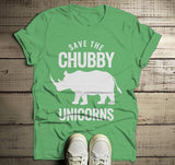 Men's Funny Chubby Unicorn T Shirt Rhinoceros Shirt Wildlife Conservation Rhino Graphic Tee-Shirts By Sarah