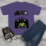Kids Halloween T Shirt Monster Face Graphic Tee Cool Spooky Shirts Toddler-Shirts By Sarah