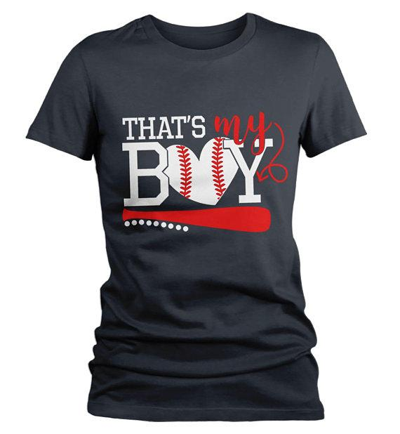 Women's Baseball T Shirt That's My Boy Shirts Baseball Mom Tee Son Tshirt-Shirts By Sarah