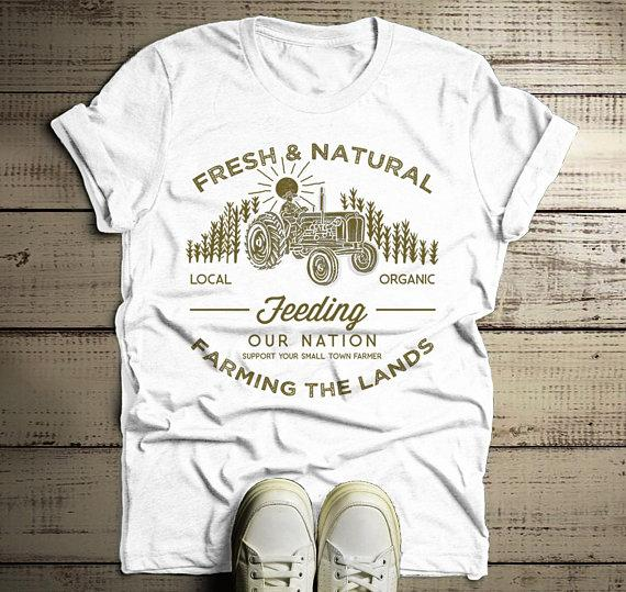 Men's Farming The Land T Shirt Vintage Farmer Shirts Corn Tractor Graphic Tee-Shirts By Sarah