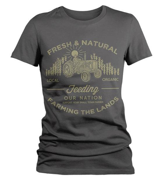 Women's Farming The Land T Shirt Vintage Farmer Shirts Corn Tractor Graphic Tee-Shirts By Sarah