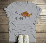 Men's Funny Fish T Shirt Selfie Fish Selfish Shirts Graphic Tee Cute Hilarious-Shirts By Sarah