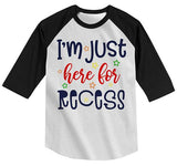 Kids Funny School Raglan Here For Recess Shirts Boy's Girl's Back To School Shirts By Sarah-Shirts By Sarah