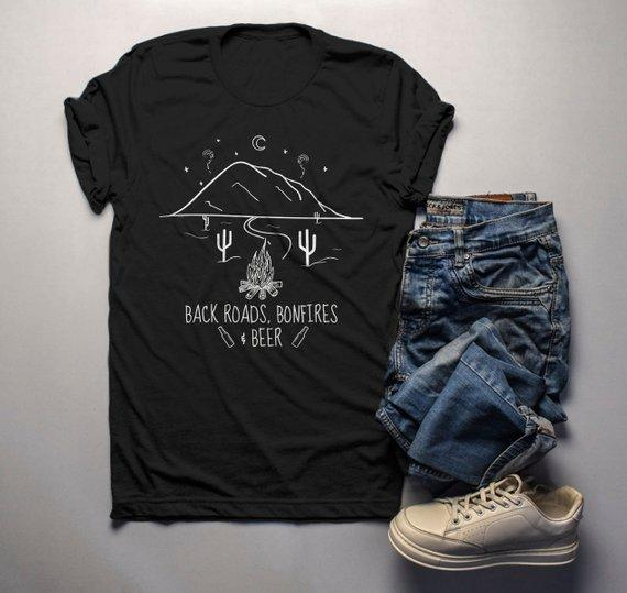 c59bef6edcd1 Men s Hipster T Shirt Back Roads Bonfires Beer Shirts Graphic Tee Nature  Mountains TShirt Fall Camping