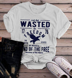 Women's Wasted On Freedom T Shirt 4th July Independence Day Vintage Shirts Graphic Tee Eagle-Shirts By Sarah