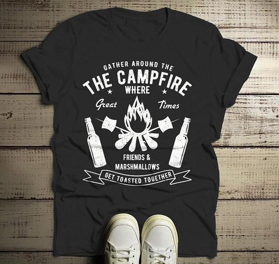 e833af1d9b Men's Funny Campfire T Shirt Gather Around Graphic Tee Marshmallows Friends  Get Toasted Beer Shirts-