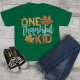 Kids Thankful T Shirt One Thankful Kid Shirts Thanksgiving Fall Tshirt Give Thanks Toddler Baby Youth-Shirts By Sarah