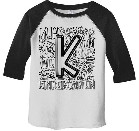 Boy's Cute Kindergarten T Shirt Typography Cool Raglan 3/4 Sleeve Boy's Girl's Grade K Back To School TShirt-Shirts By Sarah