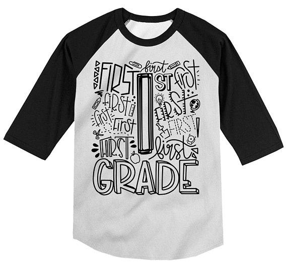 Boy's Cute 1st Grade T Shirt Typography Cool Raglan 3/4 Sleeve Boy's Girl's Grade 1 First Back To School TShirt-Shirts By Sarah