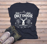 Men's Outdoor Adventures T Shirt Camping Graphic Tee Camper Shirts Deer Rustic Vintage-Shirts By Sarah