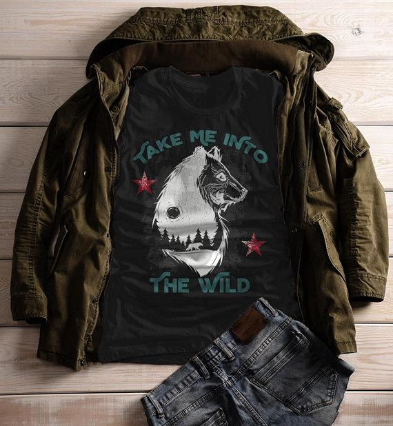 0eaccb580 Women's Take Me Into Wild T shirt Bear Wolf Graphic Tee Hipster Camping  Shirts-Shirts