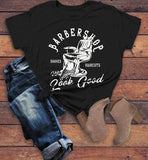 Women's Barbershop T Shirt Barber Shirts Make You Look Good Vintage Graphic Tee-Shirts By Sarah