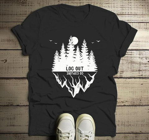 Men's Forest Hipster T-Shirt Camping Graphic Tee Log Out Shirts Mountains Explore TShirt-Shirts By Sarah
