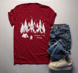 Men's Camping Therapy T Shirt Mountains Tent Graphic Tee Camper Nature Stars TShirt-Shirts By Sarah