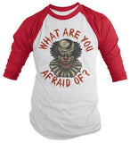 Men's Halloween Raglan Scary Clown 3/4 Sleeve T Shirt Evil Clowns Graphic Tee-Shirts By Sarah