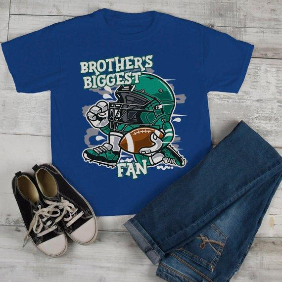 Kids Football T Shirt Brother's Biggest Fan TShirt Sibling Player Graphic Tee Boy's Girl's-Shirts By Sarah