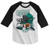 Boy's Football Shirt Brother's Biggest Fan TShirt Sibling Player Graphic Tee Girl's Raglan 3/4 Sleeve-Shirts By Sarah