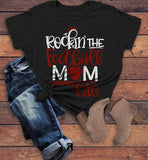 Women's Football Mom T Shirt Rockin The Football Mom Life Tee Game Day Shirts-Shirts By Sarah